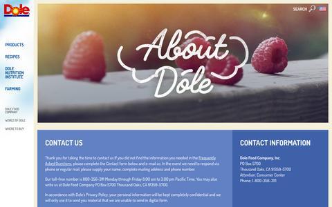 Screenshot of Contact Page dole.com - Contact Us | Dole.com - captured Feb. 29, 2016