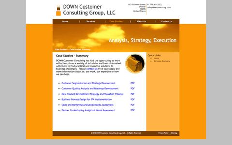 Screenshot of Case Studies Page downconsulting.com - Case Studies Overview - captured Oct. 5, 2014