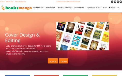 Screenshot of Home Page booksmango.com - Ebook conversion, publishing, distribution, book cover design, bookstore - captured Feb. 20, 2018