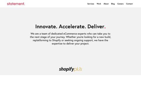 Screenshot of Services Page statementagency.com - Services | Shopify Plus Partner eCommerce Agency in London, Leeds & Manchester - captured July 17, 2019