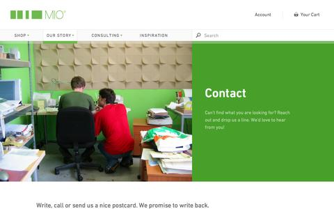 Screenshot of Contact Page mioculture.com - Contact - Mio - captured Feb. 2, 2016