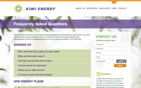 Screenshot of FAQ Page kiwienergy.us - Frequently Asked Questions - captured Sept. 30, 2014