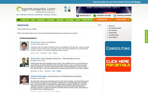 Screenshot of Testimonials Page opportunejobs.com - Jobs | Employment | Job postings | Job search | OpportuneJobs.comhip, Tender, resume maker) - captured Nov. 2, 2014