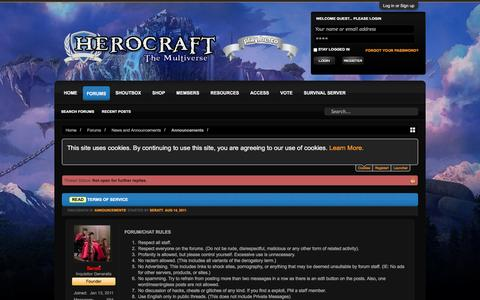 Screenshot of Contact Page Terms Page herocraftonline.com - Read - TERMS OF SERVICE | Herocraft - Minecraft RPG Server Network - captured Dec. 24, 2016