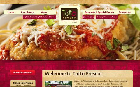 Screenshot of Home Page tuttofrescode.com - Welcome to Tutto Fresco! - Tutto Fresco Italian Eatery - captured Sept. 2, 2015