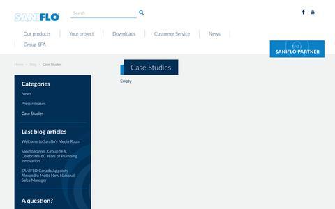Screenshot of Case Studies Page saniflo.com - Case Studies - captured Nov. 11, 2018