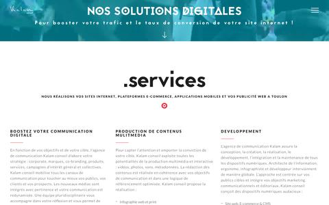 Screenshot of Services Page kalamconseil.fr - KalamConseil | creation site internet et e-commerce à Toulon - captured July 13, 2018