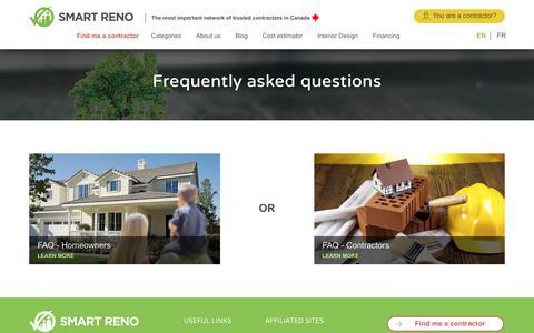Screenshot of FAQ Page smartreno.com - FAQ | SmartReno | The Best Contractors in Canada - captured Nov. 25, 2017