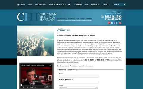 Screenshot of Contact Page cirignani.com - Contact Us | Chicago, IL | Cirignani Heller & Harman - captured Oct. 2, 2014