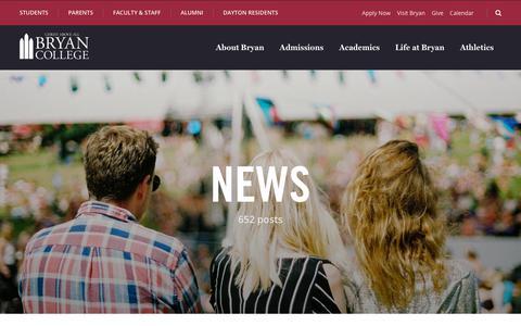 Screenshot of Press Page bryan.edu - News - Bryan College - captured Sept. 22, 2018