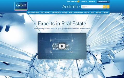 Screenshot of Home Page colliers.com.au - Commercial Real Estate | AU | Colliers International - captured March 23, 2017