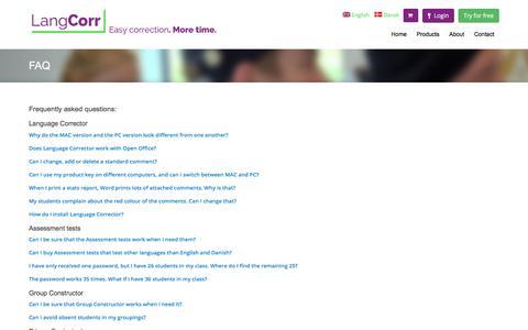 Screenshot of FAQ Page langcorr.com - FAQ | LangCorr - captured July 16, 2018