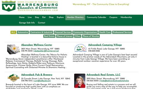 Screenshot of Services Page warrensburgchamber.com - ALL : Warrensburg Chamber Of Commerce - captured July 2, 2018