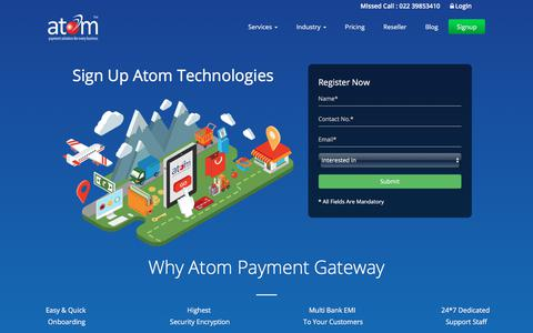Screenshot of Signup Page atomtech.in - Sign Up for Secure Payment Solution | Payment Service Provider - captured June 28, 2017