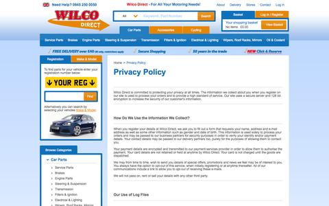 Screenshot of Privacy Page wilcodirect.co.uk - Privacy Policy - captured Sept. 24, 2014
