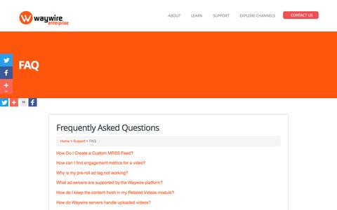 Screenshot of FAQ Page waywire.com - FAQ | Waywire Enterprise – The Video Curation Platform For Brands and Publishers - captured Sept. 5, 2016