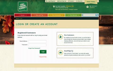 Screenshot of Login Page thefreshmarket.com - Customer Login - captured Sept. 22, 2014