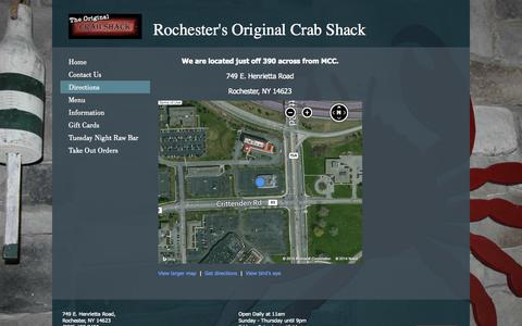 Screenshot of Maps & Directions Page crabshackrochester.com - Crab Shack - Directions - captured Oct. 3, 2014