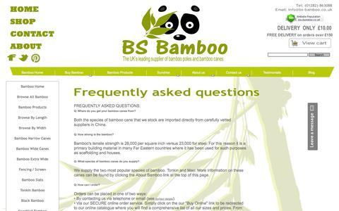 Screenshot of FAQ Page bs-bamboo.co.uk - faqs - captured May 23, 2016