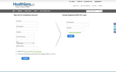 Screenshot of Signup Page healthians.com - Full Body Check-up Packages in India: Discount on Health Tests online - captured Sept. 19, 2014
