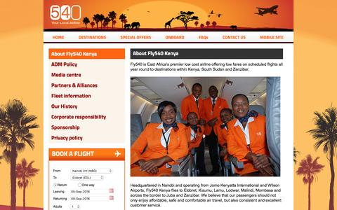 Screenshot of About Page fly540.com - About Fly540 Kenya - Fly540 - East Africa's low cost airline - captured Sept. 5, 2016