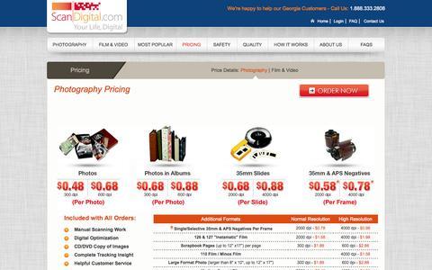 Screenshot of Pricing Page scandigital.com - Photography Pricing: Pictures, Slides, Negatives to Digital - ScanDigital - captured Sept. 17, 2014