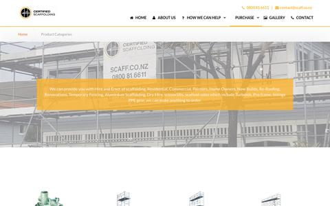 Screenshot of Products Page nzscaffolding.co.nz - Hire, Erect & Buy |Product Categories|Scaffolding - captured Oct. 18, 2018