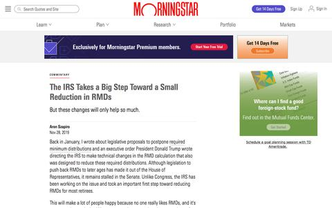 Screenshot of Blog morningstar.com - The IRS Takes a Big Step Toward a Small Reduction in RMDs | Morningstar - captured Dec. 4, 2019