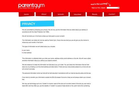 Screenshot of Privacy Page parentgym.com - Privacy - Parent Gym - captured Oct. 1, 2014