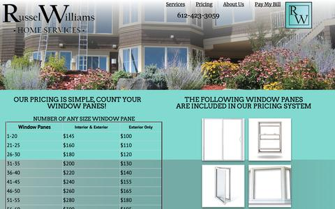 Screenshot of Pricing Page russelwilliams.com - Plymouth Window Cleaning & Washing Services - captured Oct. 20, 2018