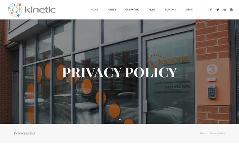 Screenshot of Privacy Page kineticpr.co.uk - Privacy policy – Kinetic - Birmingham Marketing, PR & Communications Agency - captured Oct. 15, 2018