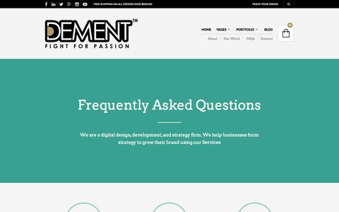 Screenshot of FAQ Page dementclothing.com - FAQs | Dement Clothing™ - captured Oct. 8, 2014