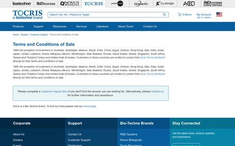 Screenshot of Terms Page tocris.com - Terms and Conditions of Sale | Customer Support | Tocris Bioscience - captured Sept. 22, 2018