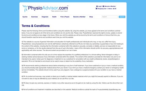 Screenshot of Terms Page physioadvisor.com.au - PhysioAdvisor - Terms & Conditions - captured July 13, 2016