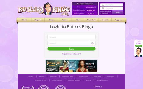 Screenshot of Login Page butlersbingo.com - Butlers Bingo - captured April 29, 2018