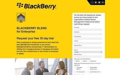 Screenshot of Landing Page blackberry.com - BlackBerry - captured Feb. 23, 2016