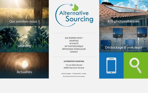 Screenshot of Home Page alternative-sourcing.fr - Alternative sourcing | Distributeur photovoltaïque - captured Jan. 21, 2015