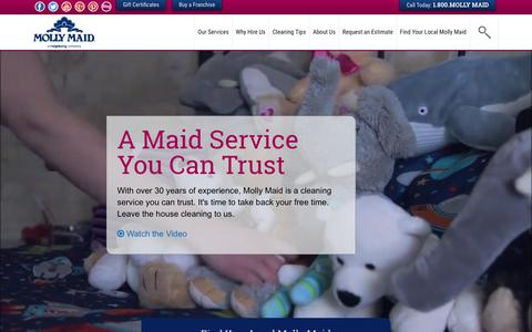 Screenshot of Home Page mollymaid.com - House Cleaning & Maid Services   Molly Maid Professional Housekeeping - captured Sept. 21, 2017