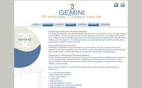 Screenshot of Services Page geminisc.com - SERVICES - Gemini Staffing Consultants, LLC - captured Oct. 2, 2014