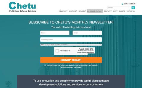 Screenshot of Signup Page chetu.com - Monthly Technology Newsletter | Chetu - captured Nov. 30, 2016