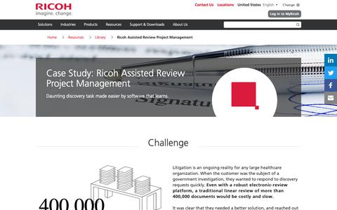 Screenshot of Case Studies Page ricoh-usa.com - Ricoh Assisted Review Project Management - captured Jan. 3, 2019