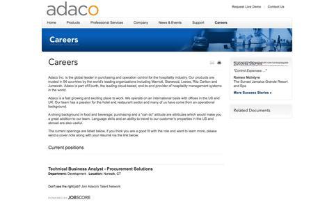 Screenshot of Jobs Page adaco.com - Hospitality Procurement, Inventory and Recipe Management Software | Adaco - captured Sept. 30, 2014