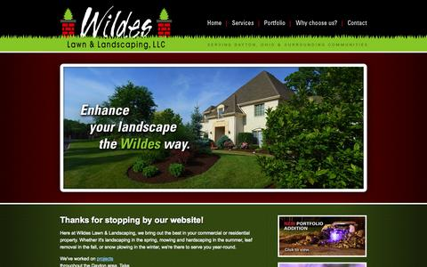 Screenshot of Home Page wildeslawnandlandscaping.com - Wildes Lawn & Landscaping, LLC   Dayton, OH Ohio landscaping, lawn care, and hardscaping for commercial and residential properties—serving Centerville, Beavercreek, Springboro, Bellbrook, Spring Valley, and surrounding communities - captured Sept. 30, 2014