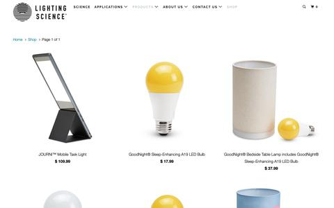 Screenshot of Products Page lsgc.com - Shopping Assistant | Lighting Science - captured Dec. 12, 2018