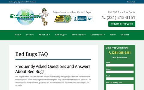 Screenshot of FAQ Page enviroconpest.com - Bed Bugs FAQ - EnviroCon - captured Jan. 29, 2016