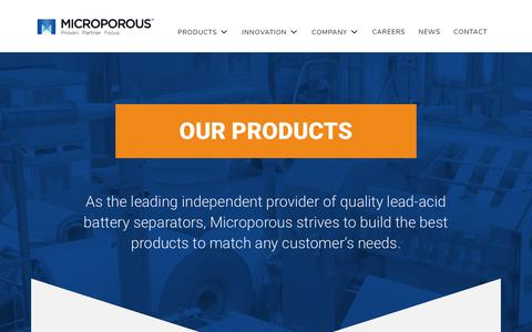 Screenshot of Products Page microporous.net - Learn about the company behind high-performance battery separators - captured Oct. 18, 2018