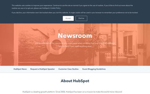 Screenshot of Press Page hubspot.com - HubSpot Newsroom - captured July 11, 2019