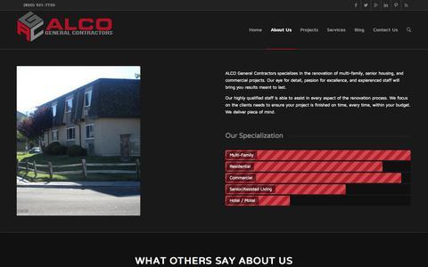 Screenshot of About Page alcogc.com - ALCO General Contractors |   About Us - captured Nov. 2, 2014
