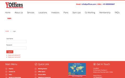Screenshot of Login Page yoffices.com - Login - captured July 18, 2016