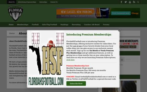 Screenshot of About Page floridahsfootball.com - About Us - Florida HS Football - captured Feb. 10, 2016